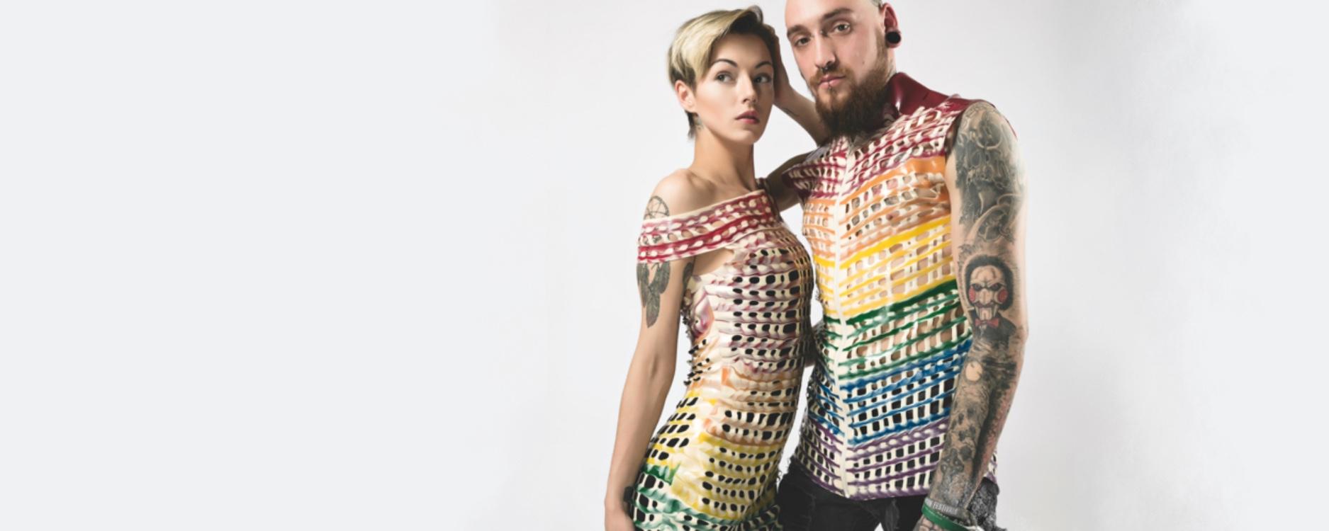 Rainbow latex dress pride parade